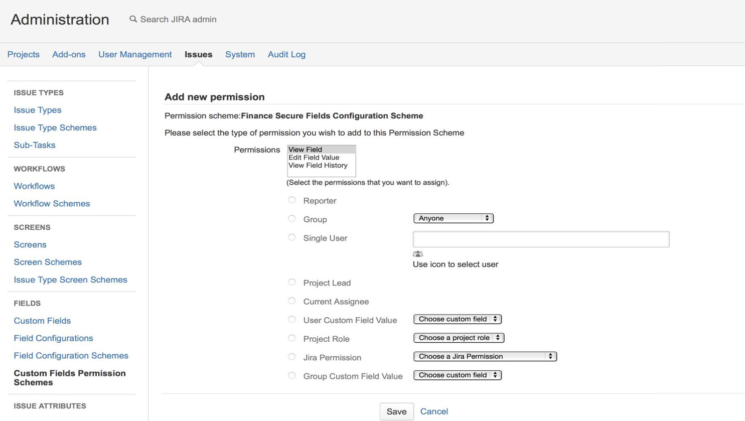 Permissions Schemes Management in Secure Fields App on a Screenshot